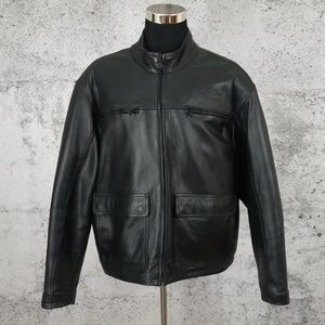 HARLEY DAVIDSON Leather Moto Jacket XXL Black